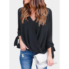 Solid V-neck 3/4 Sleeves Casual Blouses