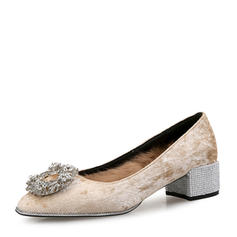 Women's Suede Chunky Heel Pumps Closed Toe With Rhinestone Buckle Faux-Fur shoes