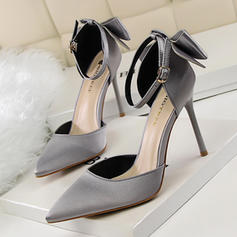 Femmes Satiné Talon stiletto Escarpins avec Bowknot Boucle chaussures