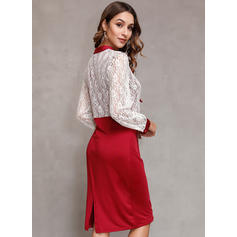 Patchwork Long Sleeves Bodycon Knee Length Casual Dresses