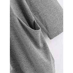 Trykk Rund hals 1/2-ermer Casual Strikking T-skjorter