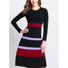 W paski Długie rękawy W kształcie litery A Długośc do kolan Wintage/Casual/Elegancki Sukienki