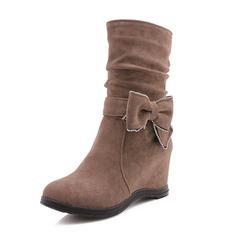 Femmes Suède Talon compensé Bottes avec Bowknot chaussures