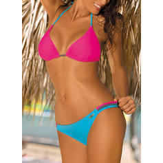 Solid Color Halter Fashionable Bikinis Swimsuits