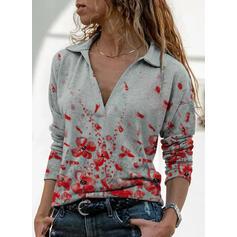 Potisk Květiny Klopa Dlouhé rukávy Neformální Bluze