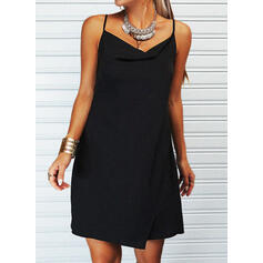Solid Sleeveless Sheath Above Knee Little Black/Casual Slip Dresses