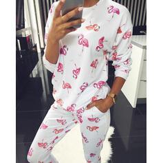 Girocollo Maniche lunghe Floreale Sexy Set di top e pantaloni