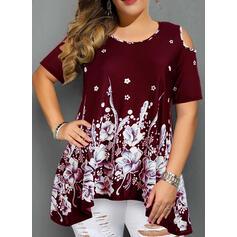 Print Floral Cold Shoulder Short Sleeves Casual Elegant Plus Size Blouses