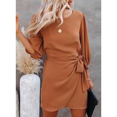 Jednolita Długie rękawy Pokrowiec Nad kolana Casual/Elegancki Sukienki