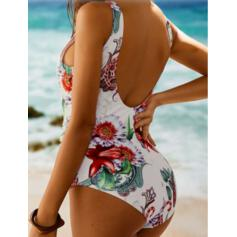 Tropical Print Patchwork Strap U-Neck Sexy Sports Plus Size Eye-catching Novelty One-piece Swimsuits