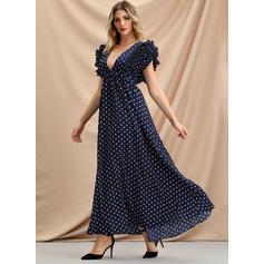 PolkaDot Flare Sleeves A-line Maxi Vintage/Party/Elegant Dresses