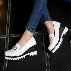 Femmes Cuir verni Talon compensé Bout fermé Compensée avec Boucle chaussures