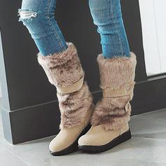 Femmes PU Talon bas Bottes mi-mollets Bottes neige avec Fausse Fourrure chaussures