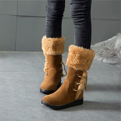 Women's PU Flat Heel Mid-Calf Boots Snow Boots With Lace-up Faux-Fur shoes