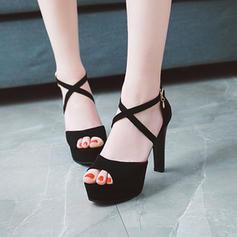 Naisten Mokkanahka Piikkikorko Sandaalit Avokkaat Platform Peep toe jossa Solki kengät