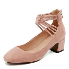 Femmes Suède Talon bottier Bout fermé avec Zip Dentelle chaussures