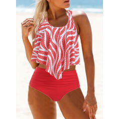 High Waist Print Strap U-Neck Vintage Fresh Tankinis Swimsuits