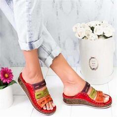 PU Wedge Heel Sandalen Wedges Peep Toe Slippers met Hol-out schoenen
