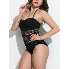 Jednobarevné Ke krku Sexy Plus mărimea Jednodílné Costume de baie