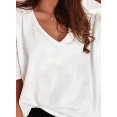 Solid V-hals 1/2 ærmer T-shirts