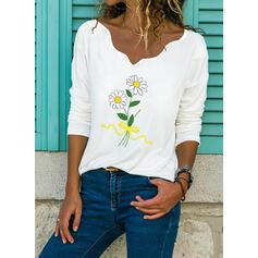 Drucken Blumen V-Ausschnitt Lange Ärmel Freizeit Blusen