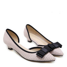Women's Leatherette Low Heel Pumps Closed Toe With Bowknot shoes