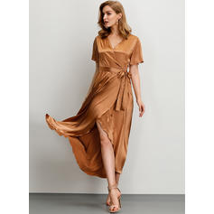 Solid Short Sleeves A-line Asymmetrical Party/Elegant Dresses
