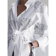 Nadruk Klapa Długie rękawy Casual Bluski koszulowe
