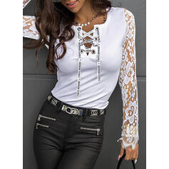 Solid Lace Figure V-Neck Long Sleeves Casual Blouses