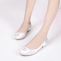 Femmes Soie comme du satin Talon bas Bout fermé Chaussures plates avec Plissé