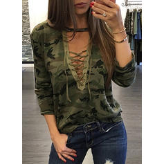 Print V-Neck Long Sleeves Casual Sexy Knit Blouses