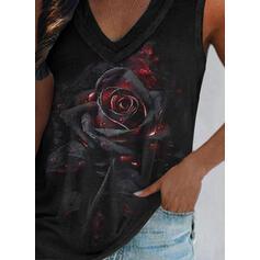 Kwiatowy Nadruk Dekolt w kształcie litery V Bez Rękawów Koszulki bez rękawów