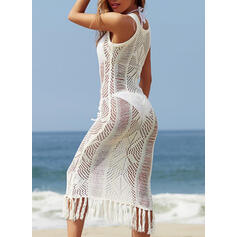 Solid Color Mesh Round Neck Sexy Eye-catching Cover-ups Swimsuits
