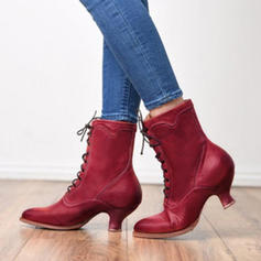 Women's PU Low Heel Pumps Closed Toe Boots Mid-Calf Boots With Lace-up shoes