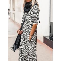 Leopard Lange ærmer Shift Tunika Casual Midi Kjoler
