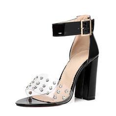 Femmes Cuir verni Talon bottier Sandales Escarpins avec Rivet Boucle Dentelle chaussures