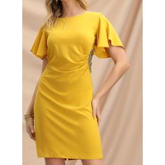 Solid Short Sleeves Sheath Above Knee Party/Elegant Dresses