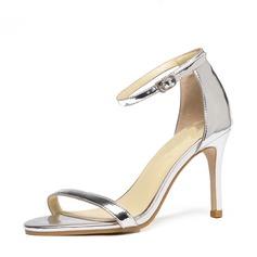 De mujer Piel brillante Tacón stilettos Sandalias Salón Encaje con Hebilla zapatos