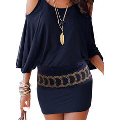 Print 3/4 Sleeves Bodycon Above Knee Casual/Vacation Dresses