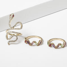 Shining Snake Shaped Alloy Rhinestones Rings 3 PCS