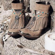Kvinner PU Lav Hæl Støvler med Spenne Tassel sko