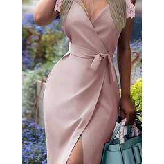 Sólido Renda Manga Curta Bainha Estolas Elegante Midi Vestidos