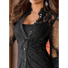 Solid Lace Sequins V-Neck Long Sleeves Button Up Casual Blouses