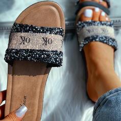 Femmes PVC Talon plat Sandales Chaussons avec Letter chaussures