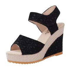 Vrouwen PU Stiletto Heel Sandalen Wedges met Velcro schoenen
