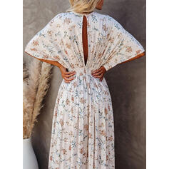 Print/Floral 1/2 Sleeves/Batwing Sleeves A-line Skater Casual/Vacation Maxi Dresses