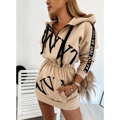 Print Long Sleeves Bodycon Above Knee Casual Sweatshirt Dresses