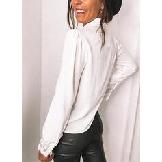 Solido Pizzo Risvolto Puff Sleeve Maniche lunghe Bottone Elegante Shirt and Blouses