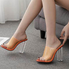 Women's PU Stiletto Heel Sandals Pumps With Crystal Heel shoes