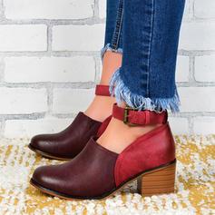 Frauen PU Stöckel Absatz Sandalen Absatzschuhe mit Schnalle Schuhe